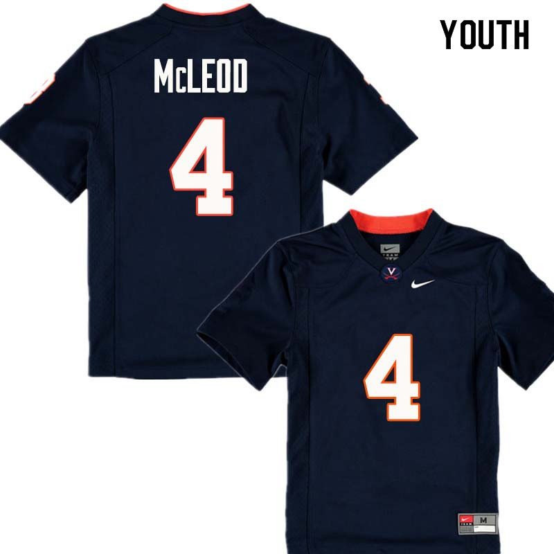 Youth #4 Rodney McLeod Virginia Cavaliers College Football Jerseys Sale-Navy