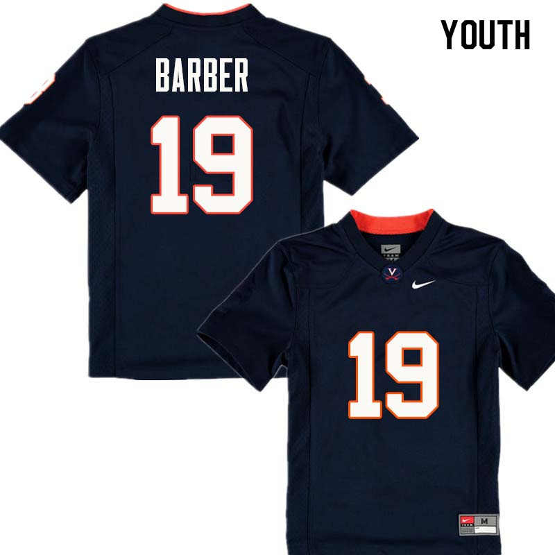 Youth #19 Ronde Barber Virginia Cavaliers College Football Jerseys Sale-Navy