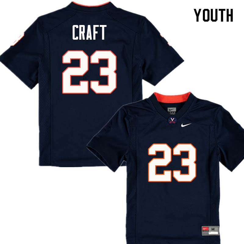 Youth #23 Warren Craft Virginia Cavaliers College Football Jerseys Sale-Navy