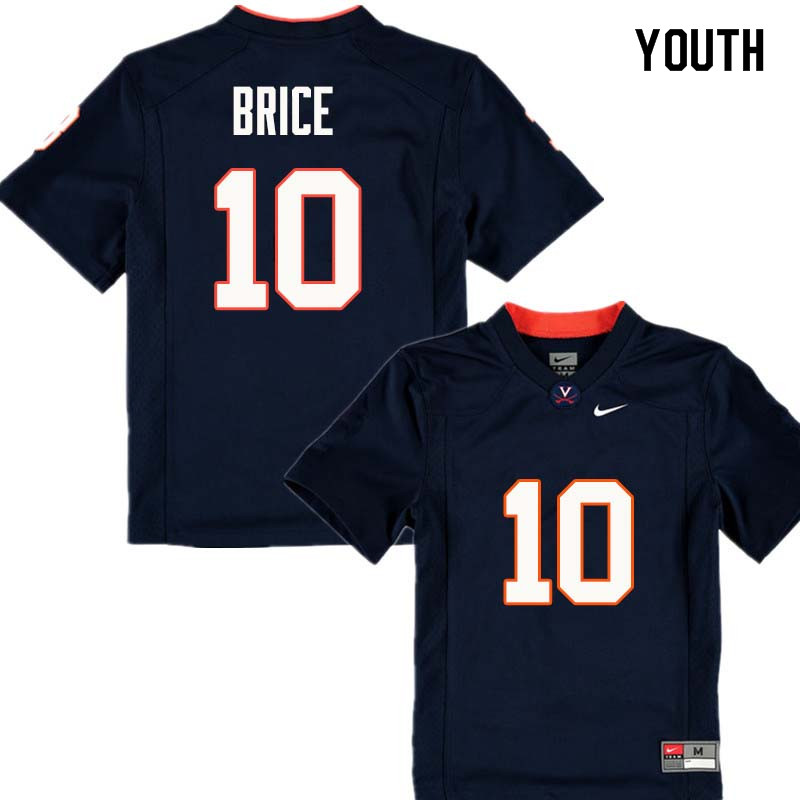 Youth #10 Will Brice Virginia Cavaliers College Football Jerseys Sale-Navy