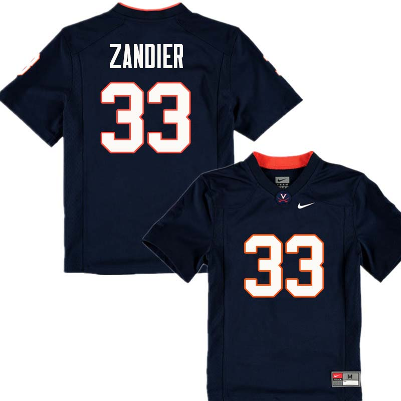 Men #33 Zane Zandier Virginia Cavaliers College Football Jerseys Sale-Navy